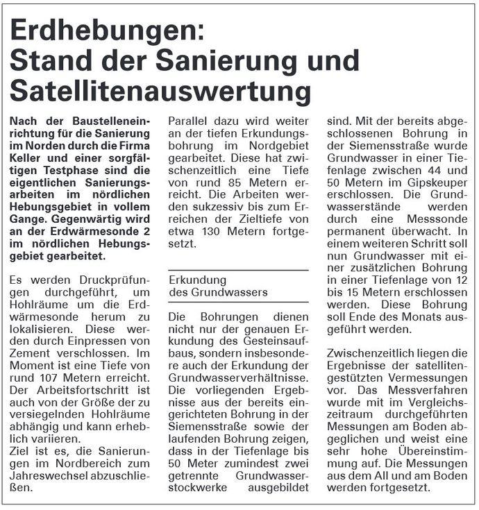 Stand der Sanierung und Satellitenauswertung