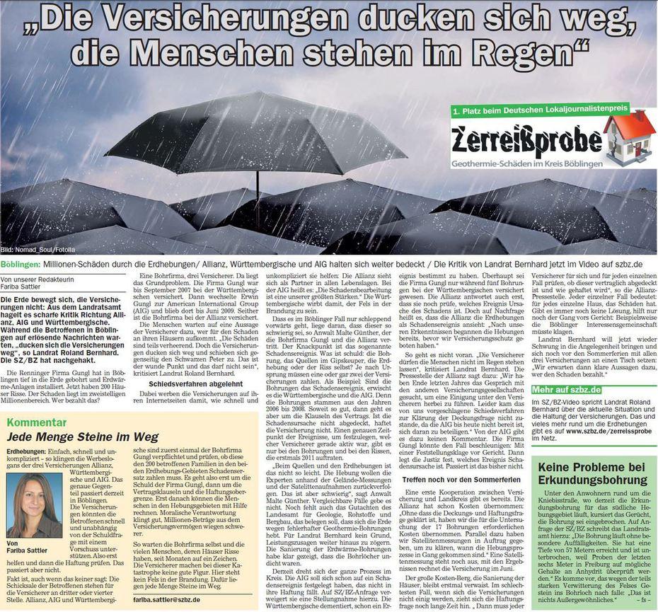 Das Versicherungen ducken sich weg, die Menschen stehen im Regen
