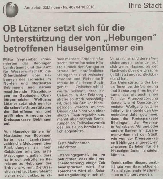 Oberbürgermeister Lützner setzt sich für betroffene Hauseigentümer ein