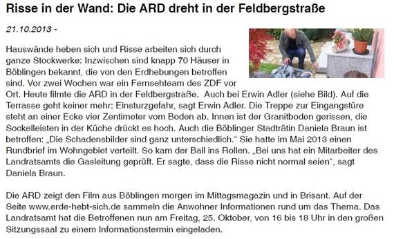 Risse in der Wand: Die ARD dreht in der Feldbergstraße