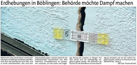 Erdhebungen in Böblingen: Behörde möchte Dampf machen