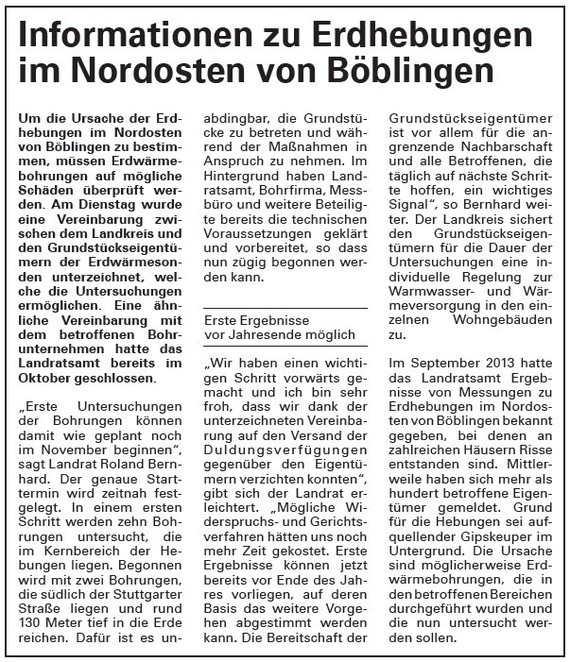 Informationen zu Erdhebungen im Nordosten von Böblingen