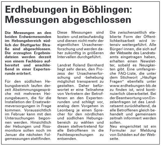 Erdhebungen in Böblingen: Messungen abgeschlossen